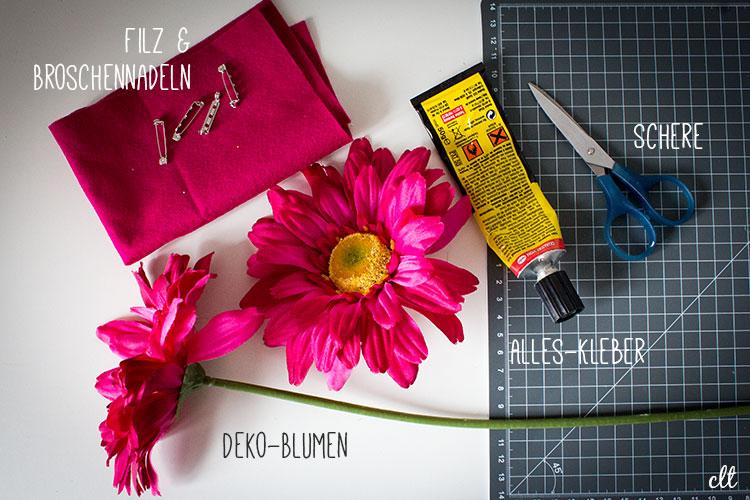 Zutaten für eine Blumen-Brosche