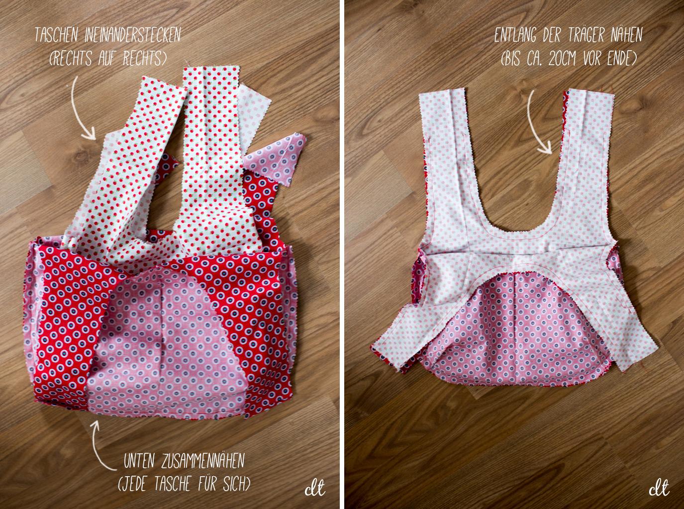 Kleine Wendetasche - Verheiraten der beiden Taschen-Teile